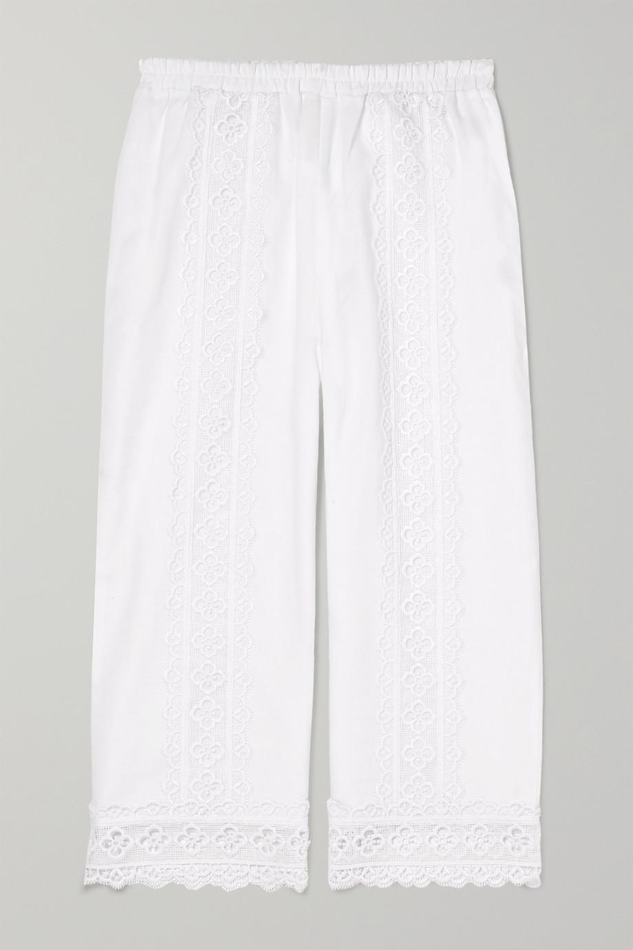 Charo Ruiz Kids Crocheted lace-paneled cotton-blend pants