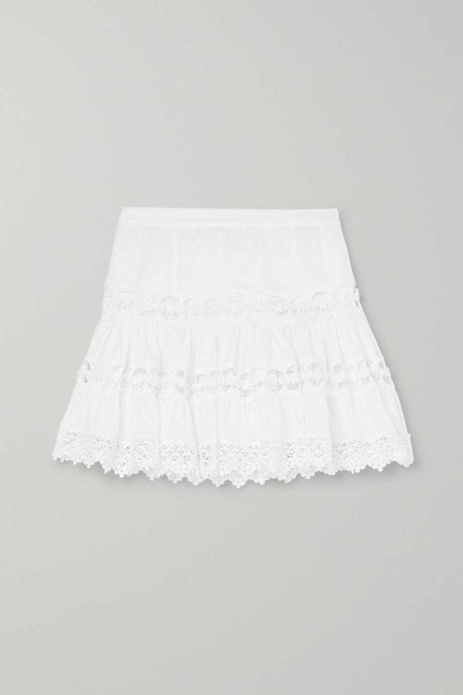 Charo Ruiz Kids Greta crocheted lace-paneled cotton-blend skirt