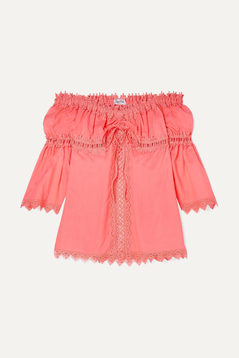 Charo Ruiz Kids Maya crocheted lace-paneled cotton-blend top