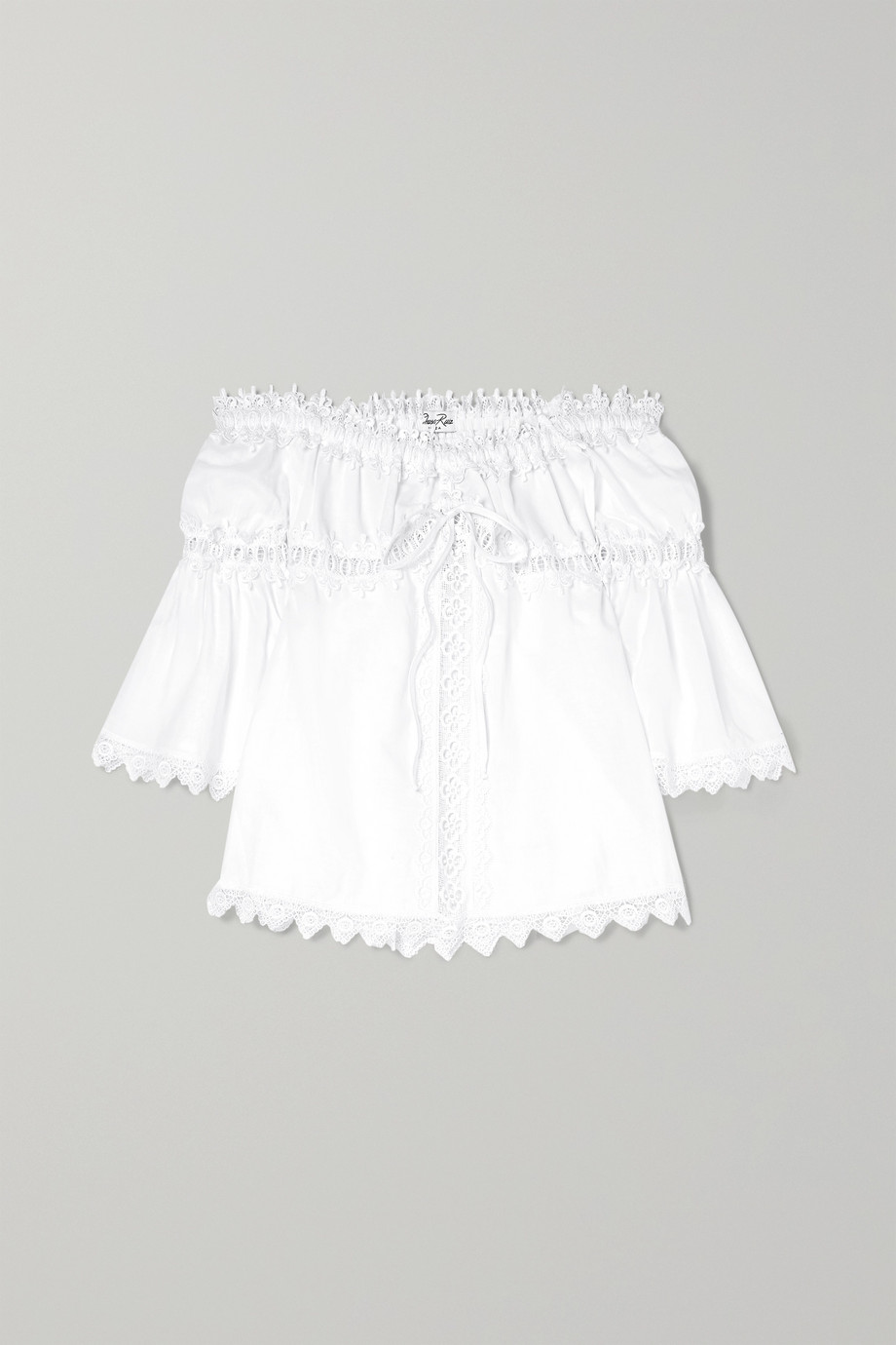 Charo Ruiz Kids Off-the-shoulder crocheted lace-paneled cotton-blend top