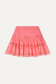 Greta lace-trimmed cotton-blend skirt