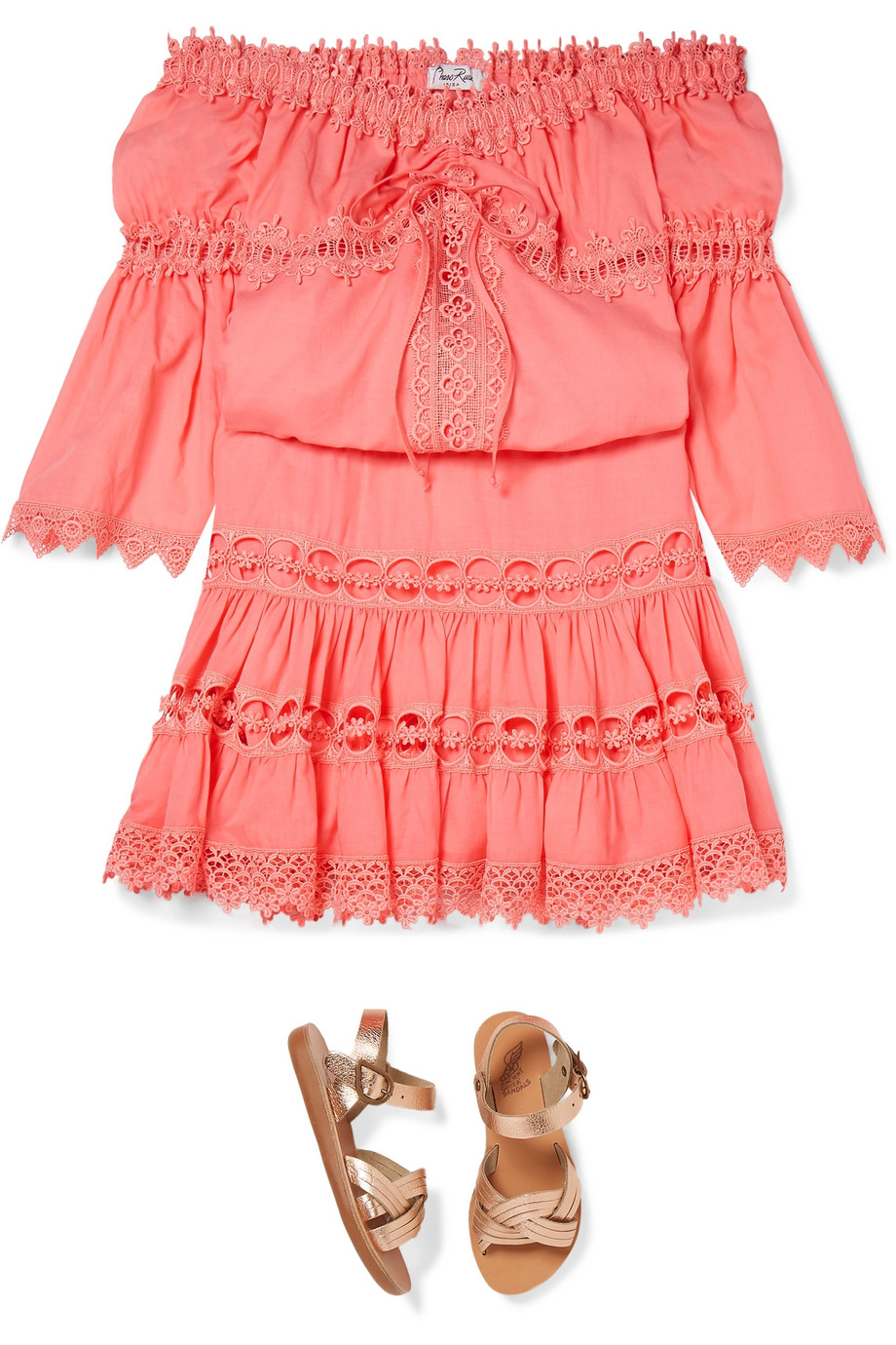 Charo Ruiz Kids Greta lace-trimmed cotton-blend skirt