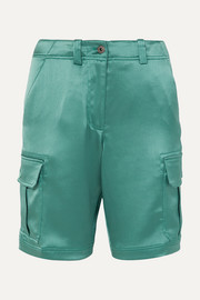 Elias crinkled-satin cargo shorts