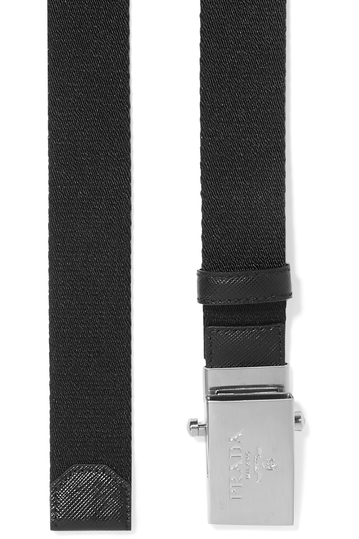 Prada Textured leather-trimmed canvas belt
