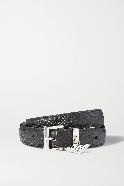 Prada Embellished textured-leather waist belt