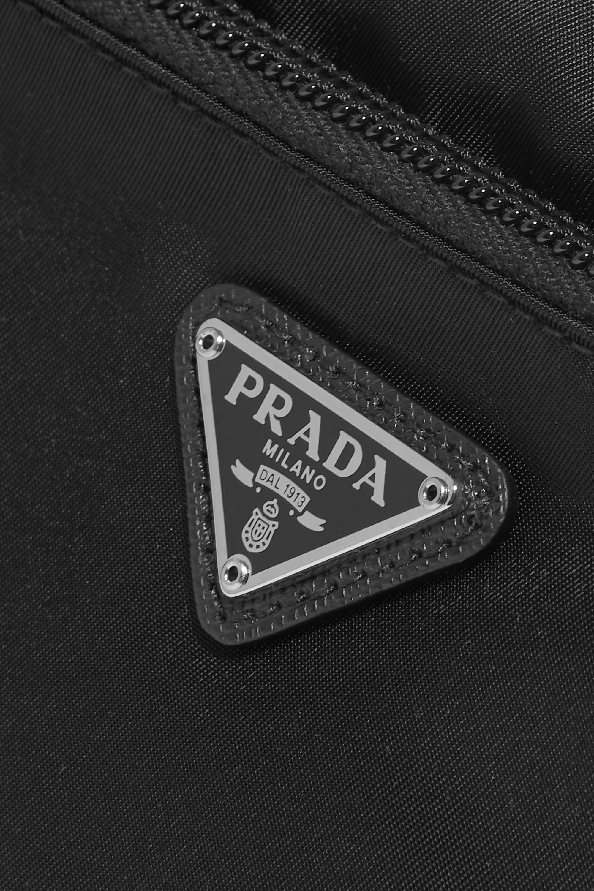 Prada Leather-trimmed shell cosmetics case