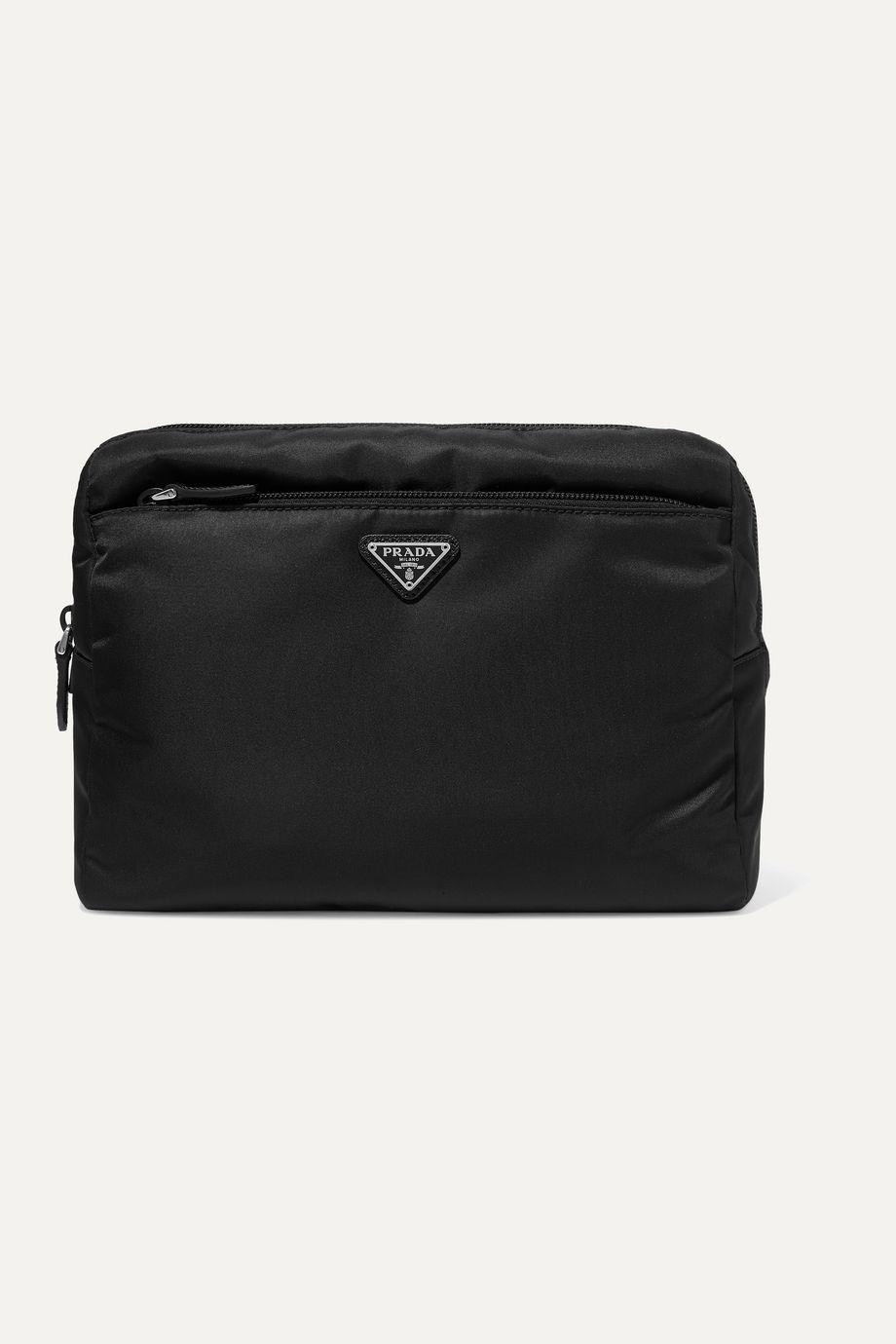Prada Appliquéd leather-trimmed nylon cosmetics case