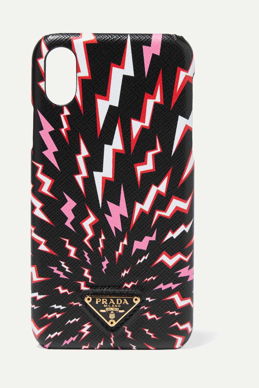 Prada Coque pour iPhone X et XS en cuir texturé imprimé