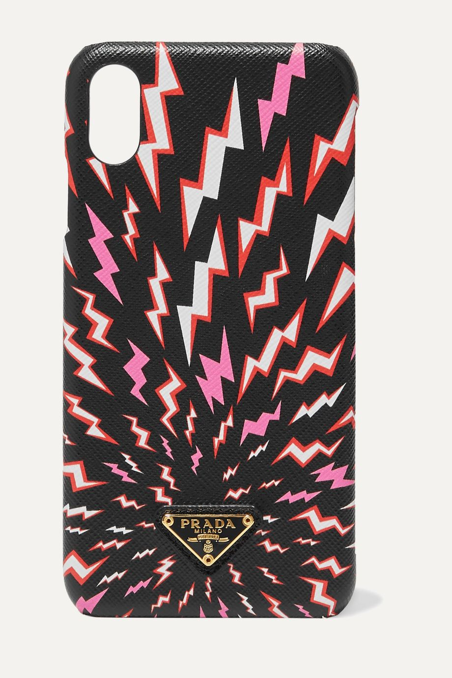 Prada Printed textured-leather iPhone XS Max case