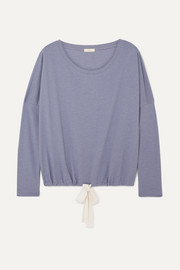 Heather cotton-blend jersey pajama top