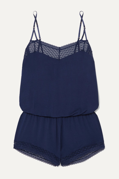 Eberjey Addison Lace-trimmed Stretch-modal Jersey Playsuit In Navy