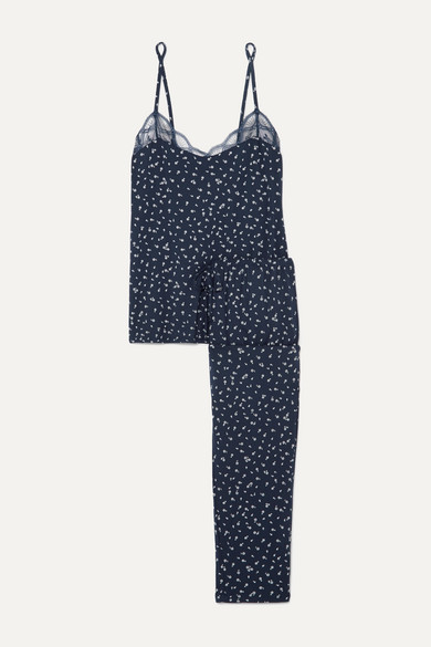 Eberjey Bloom Lace-trimmed Floral-print Stretch-modal Jersey Pajama Set In Navy