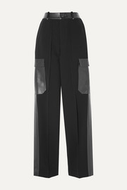 Peter Do Leather and satin-trimmed crepe straight-leg pants