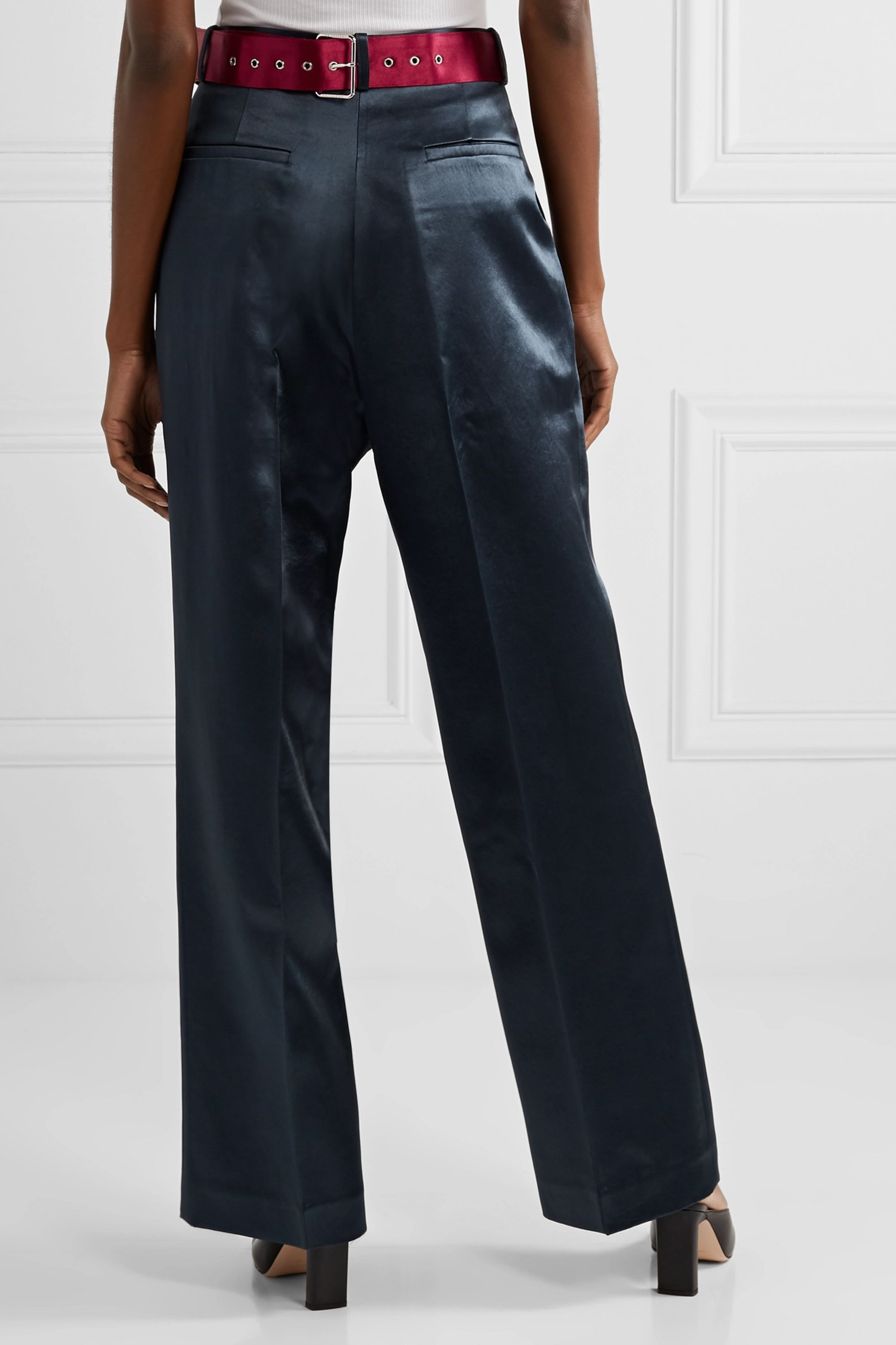 Peter Do Belted hammered-satin straight-leg pants