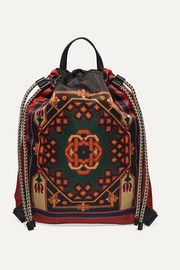Etro Leather-trimmed printed shell backpack