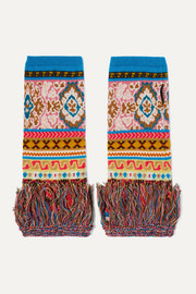 Etro Fringed intarsia wool-blend fingerless gloves