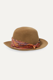 Etro Printed silk-satin trimmed rabbit-felt fedora