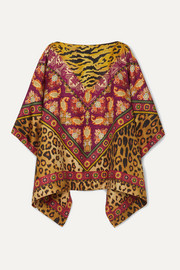 Reversible printed silk-twill poncho