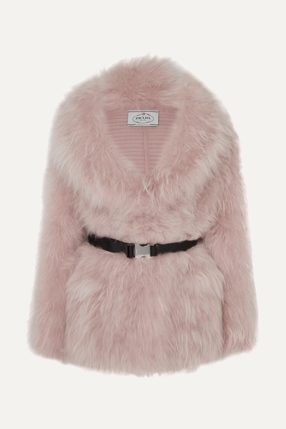 Prada Manteau en poil de chèvre à ceinture