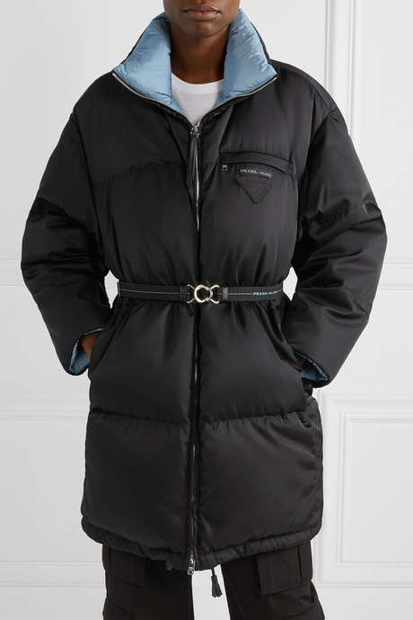 Belted quilted shell down coat