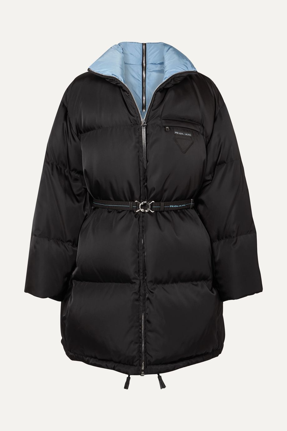 Prada Belted quilted shell down coat