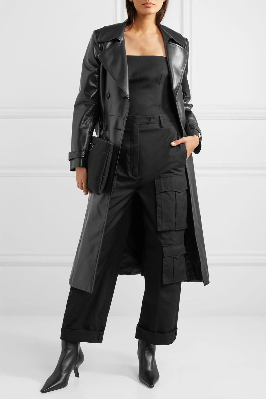 Prada Double-breasted leather trench coat