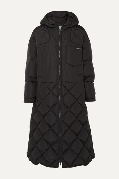 a4753027c Hooded Quilted Shell Down Coat in Black