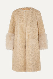 Prada Teddy oversized goat hair-trimmed shearling coat