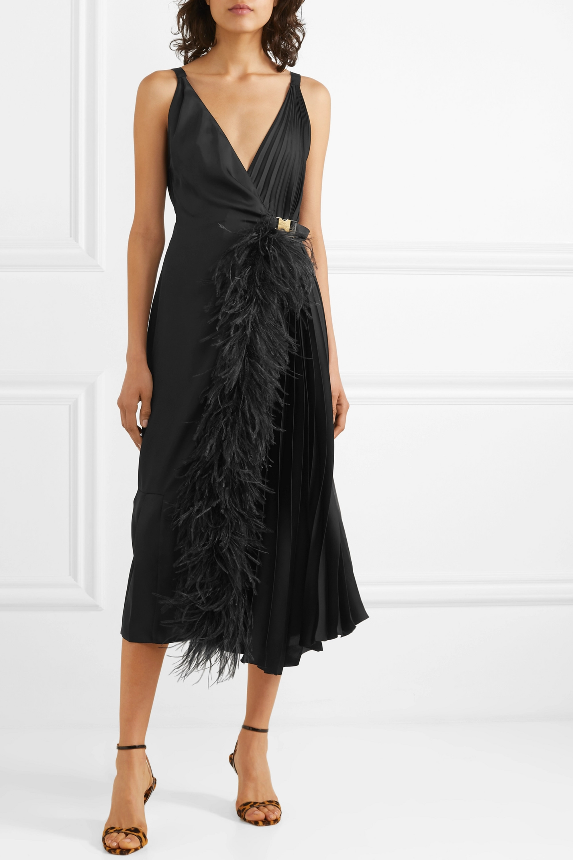 Prada Feather-trimmed pleated satin wrap dress