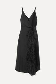 Prada Feather-trimmed pleated satin wrap dress