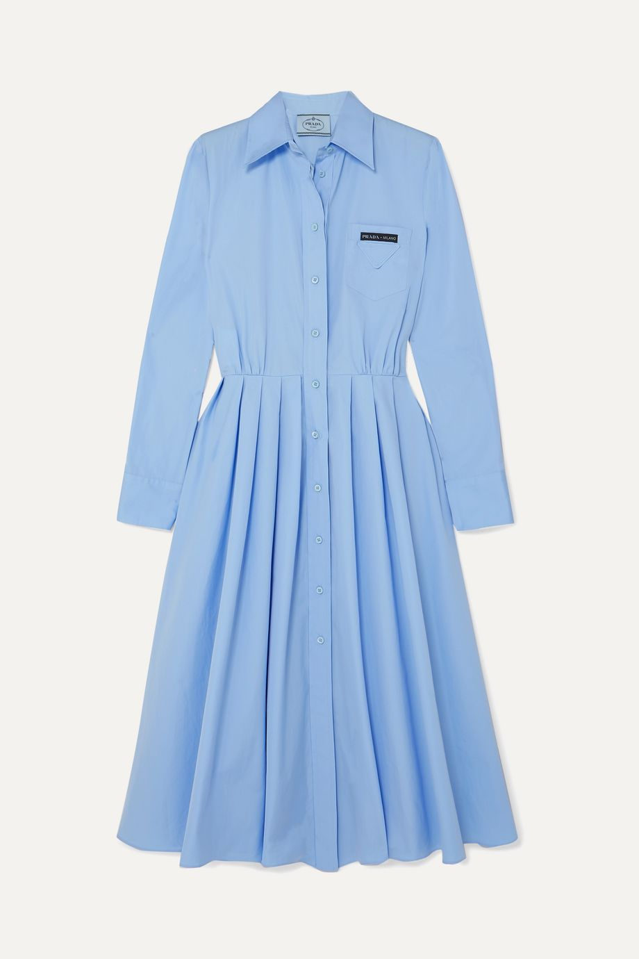Prada Robe-chemise en coton à plis plats
