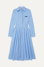 Pleated cotton shirt dress