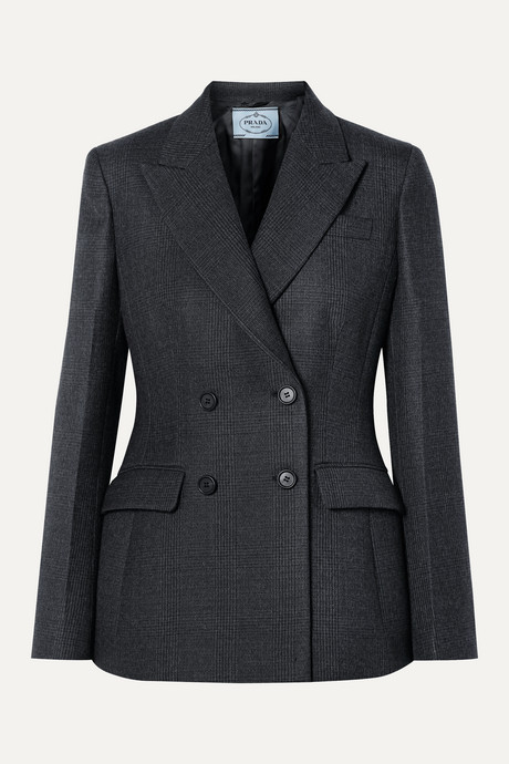 Gray Double-breasted checked wool-blend blazer | Prada ghVunF