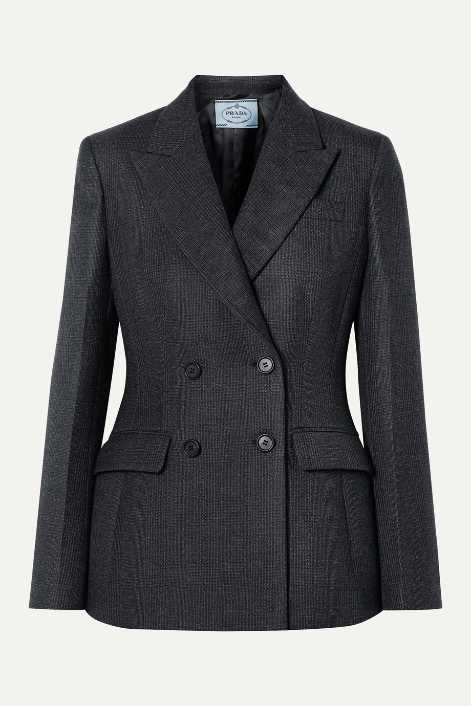 Prada Double-breasted checked wool-blend blazer