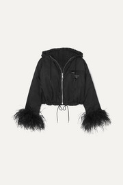 Prada Reversible cropped feather-trimmed denim and nylon jacket