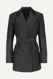 Prada Studded double-breasted mohair and wool-blend blazer