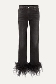 Prada Cropped feather-trimmed straight-leg jeans