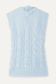 Prada Open-back cable-knit mohair-blend sweater
