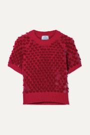 Prada Cropped paillette-embellished wool and cashmere-blend sweater