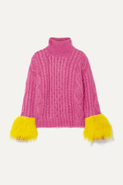 Prada Shearling-trimmed cable-knit mohair-blend sweater