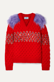 Prada Embellished mohair and cotton-blend trimmed wool sweater