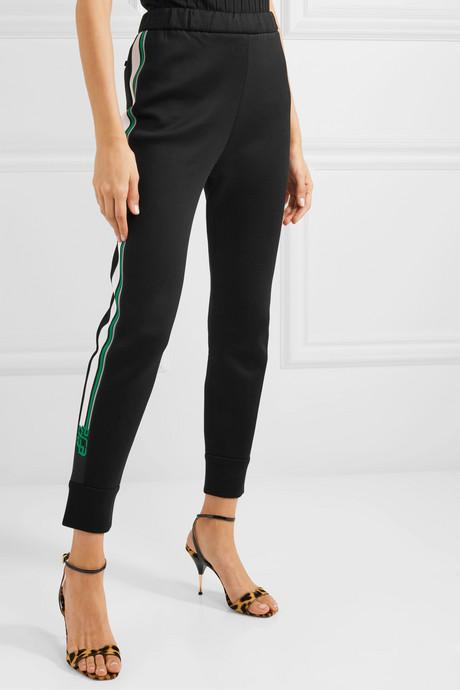 Striped cotton-blend jersey track pants