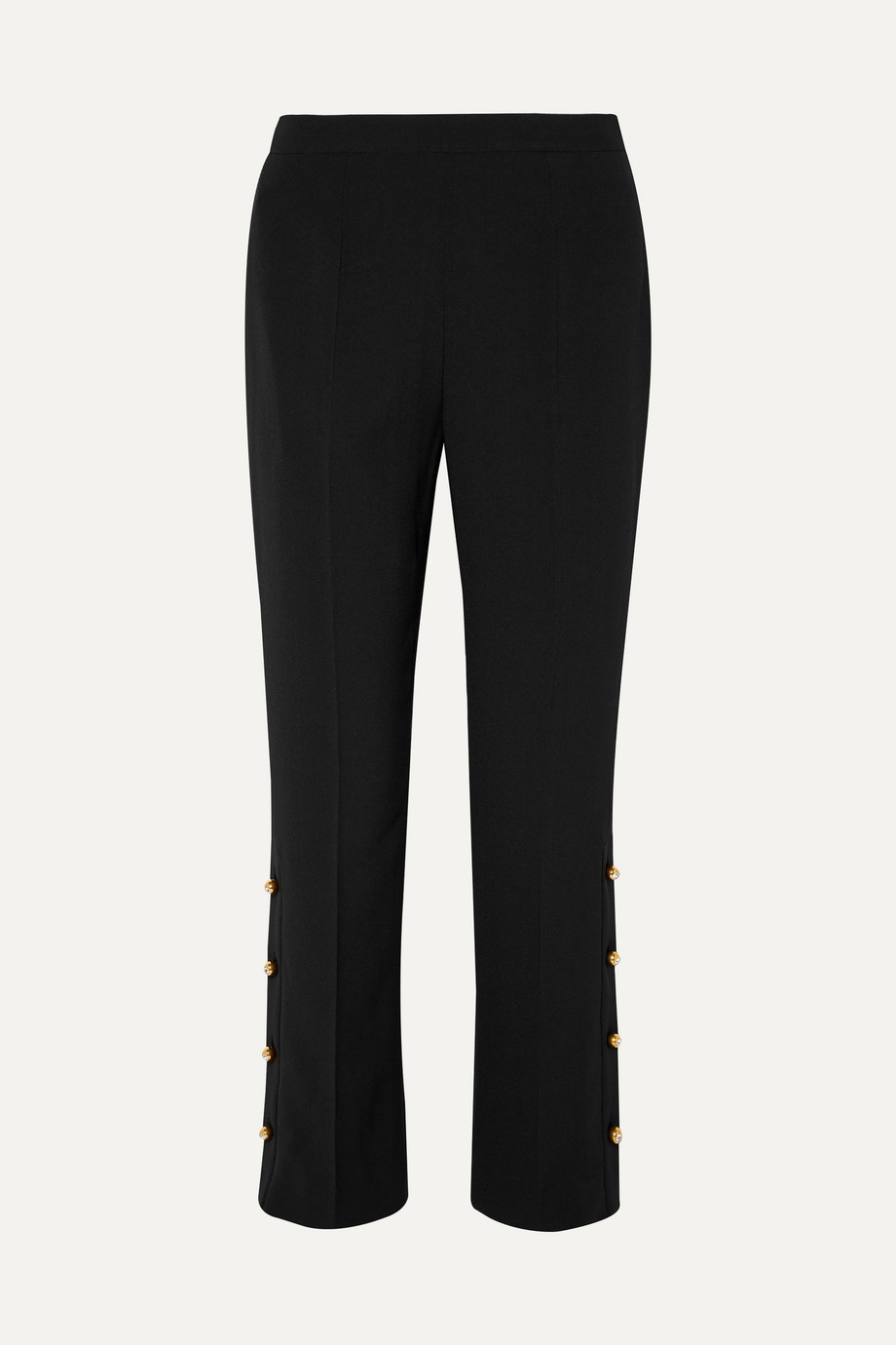 Prada Button-embellished crepe wide-leg pants