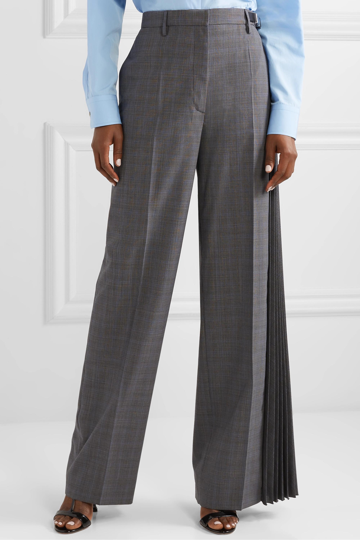 Prada Pantalon large en laine mélangée à carreaux et à plis accordéon