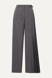 Prada Pleated checked wool-blend wide-leg pants