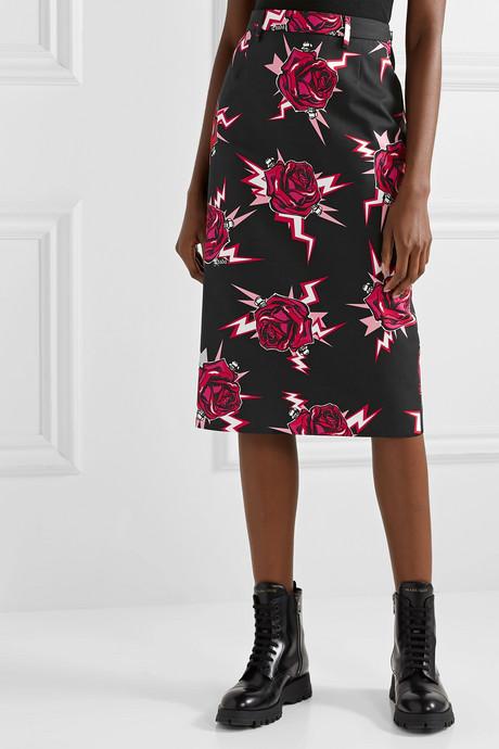 Printed cotton-poplin skirt
