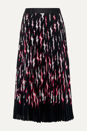 Prada Pleated printed satin midi skirt