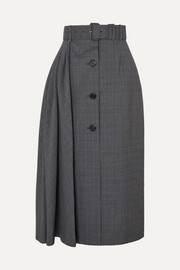 Prada Pleated Prince of Wales checked wool-blend midi skirt