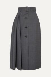 프라다 플리츠 체크 미디 스커트 ('슈스스TV' 한혜연 착용) Prada Pleated Prince of Wales checked wool-blend midi skirt
