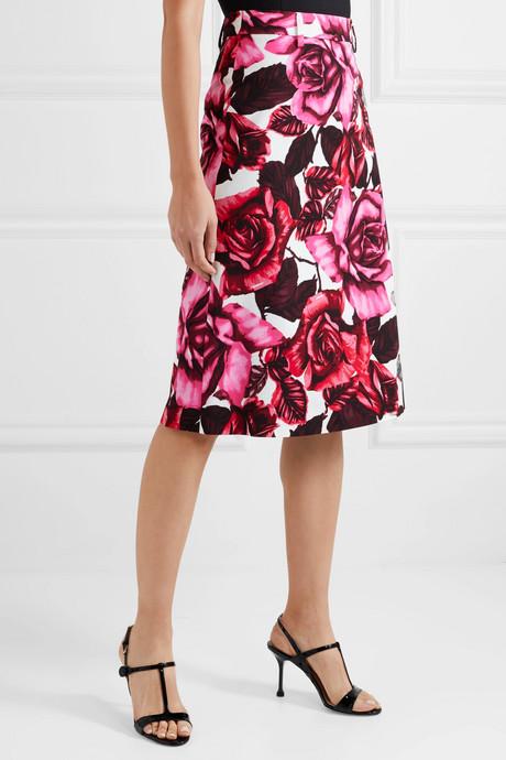 Floral-print cotton-poplin skirt